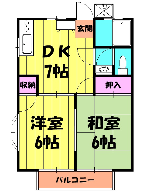 オレンジハウス森田壱番館 102号室の間取り