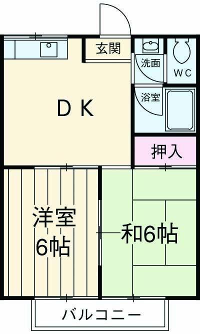 平岡田口ハイツ・202号室の間取り