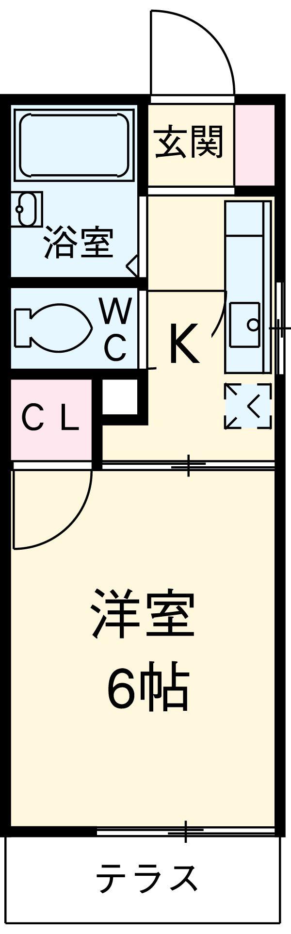 カレッジサイド寺田 105号室の間取り