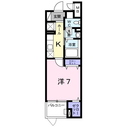 プラシードKⅡ・01020号室の間取り