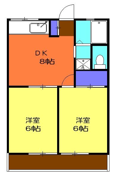 カギナカハイツA・202号室の間取り