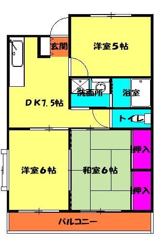 メゾングランドール柴崎 3-B号室間取り図