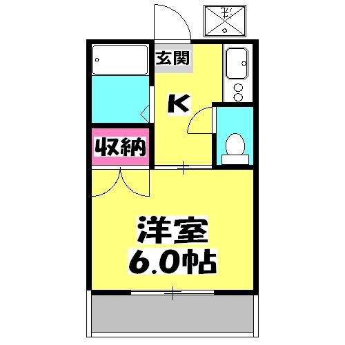 第一田辺コーポ・206号室の間取り