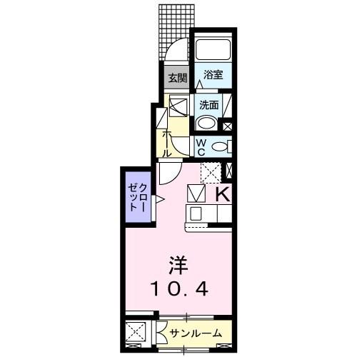 ニューキャッスル カサガミA・01020号室の間取り