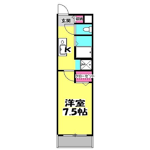 レジデンス上野田Ⅱ・102号室の間取り