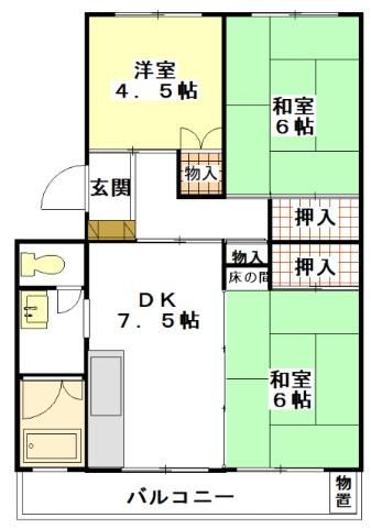 フラワリー霞ヶ関Ⅱ・502号室の間取り