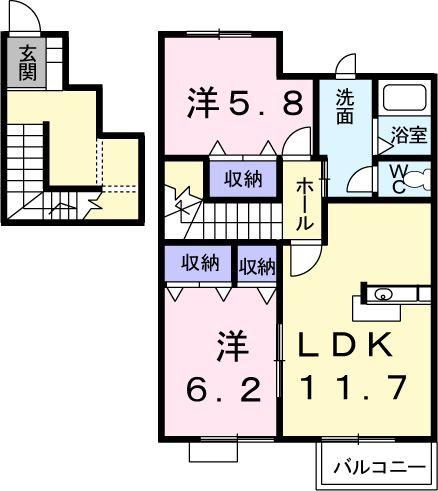 リバ-ム-ンⅡ・02020号室の間取り