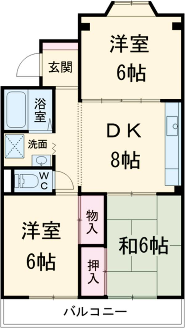 第1サンハイツ戸崎 303号室の間取り