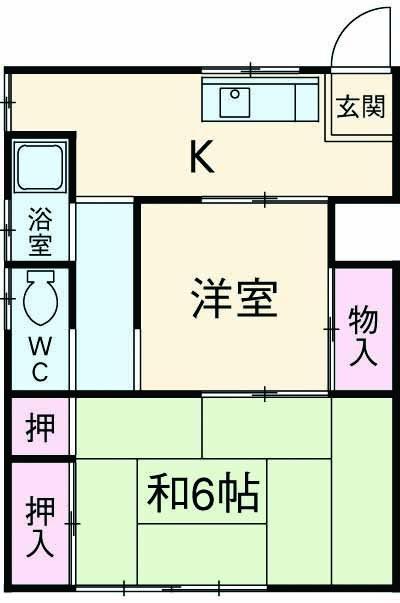 市川アパートB 102号室の間取り