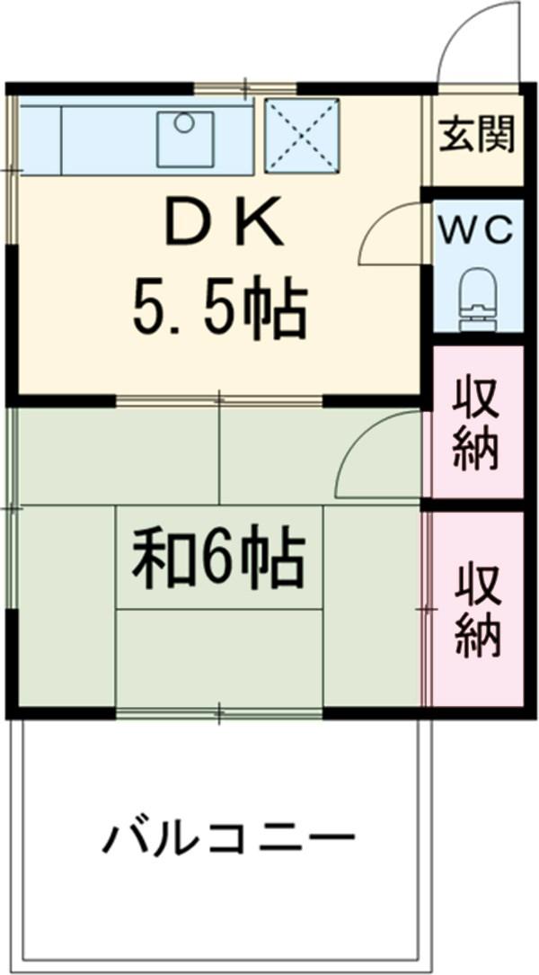 渡辺アパート・201号室の間取り