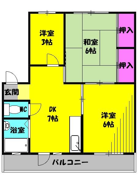 小八幡マンション 3-D号室の間取り