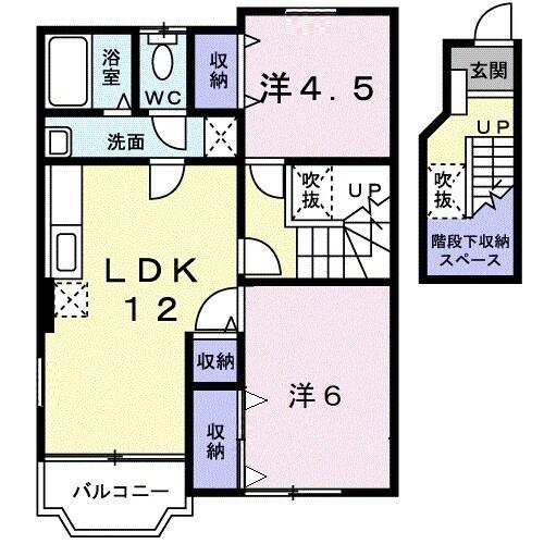 ローズマリーA・02020号室の間取り