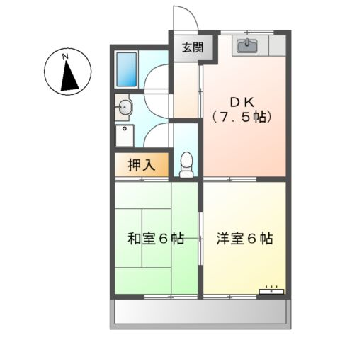 シャトレ妙興寺 00203号室の間取り