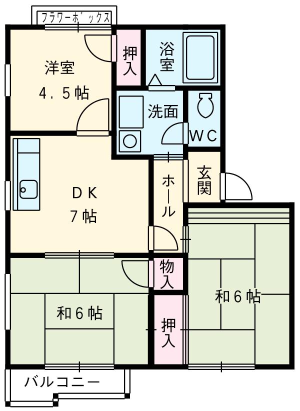 クレスト藤ケ丘A/B B202号室の間取り