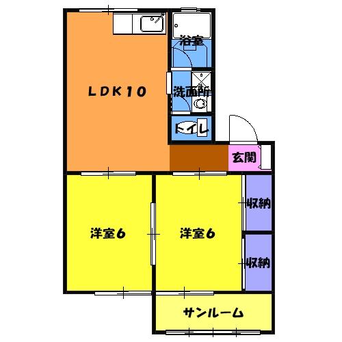 フォーラム丸塚 Ⅱ 103号室の間取り