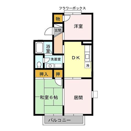 レジデンスKASUYA 205号室の間取り
