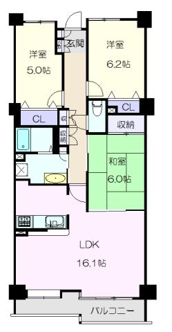 富士見台パークハイツ 3番館・305号室の間取り
