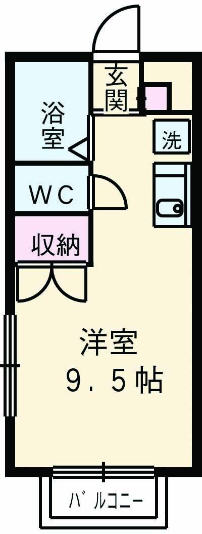 第2ホーメスト桜木・1C号室の間取り