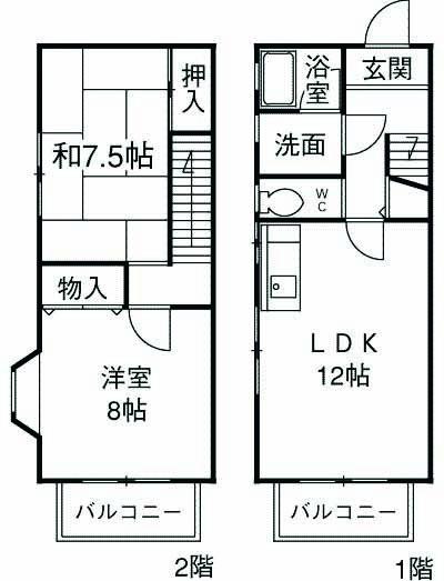 Park Side Nanpei・B号室の間取り