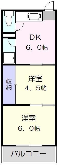 川島第二ビル 502号室の間取り