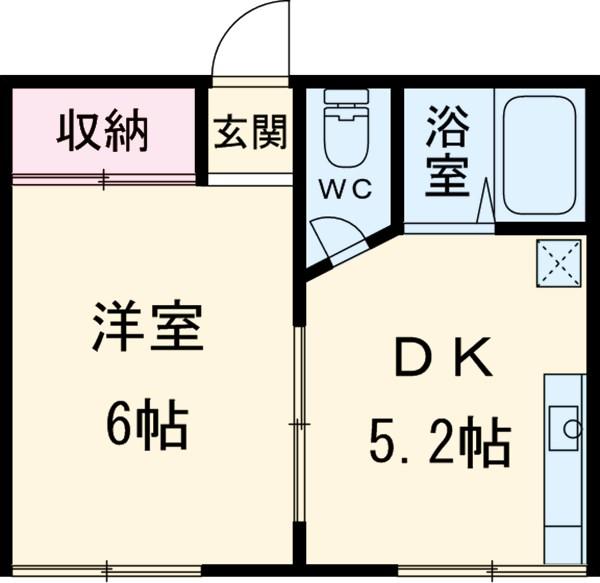 広栄荘2棟・214号室の間取り