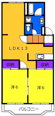 カナヤハイツⅡ 101号室の間取り