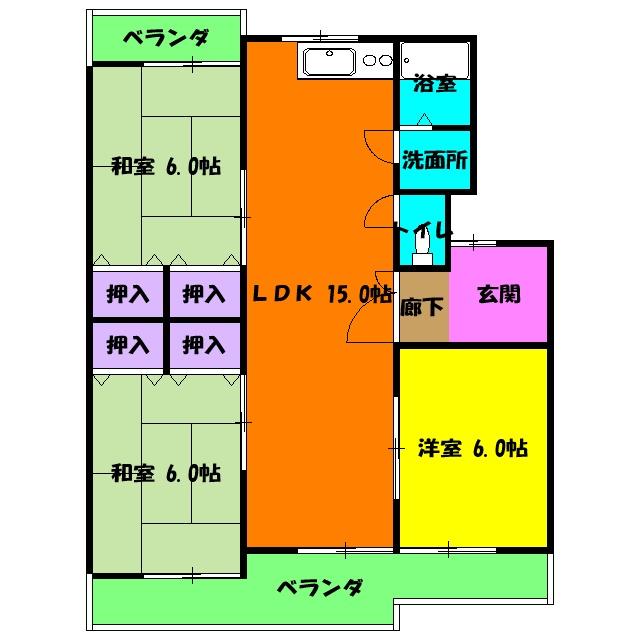 大石マンション・3-E号室の間取り