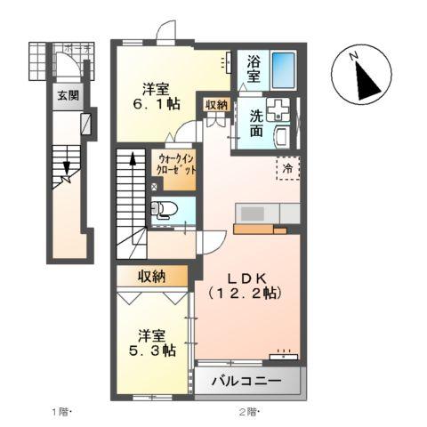 (仮称)大網白里市新築アパート 206号室の間取り