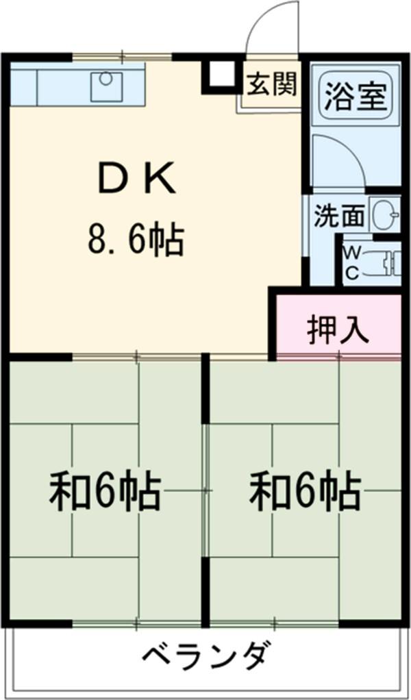保田ヶ池コーポ・302号室の間取り