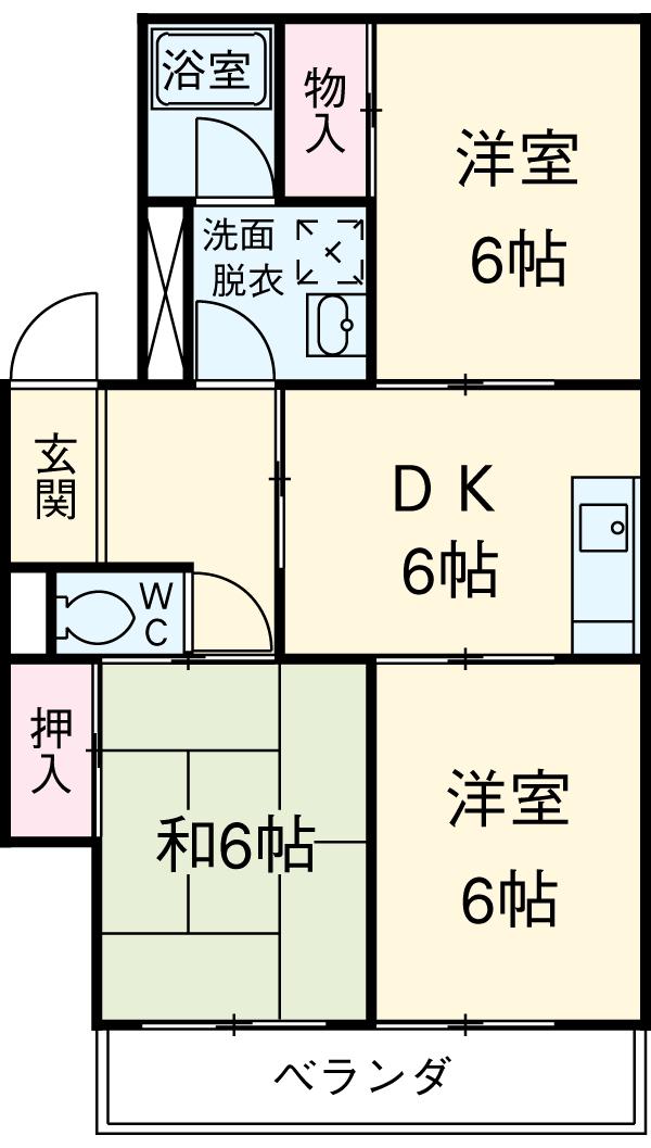 サンライト東刈谷・C406号室の間取り