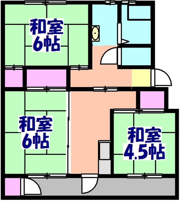 鎌ヶ谷グリーンハイツ23号棟 410号室の間取り