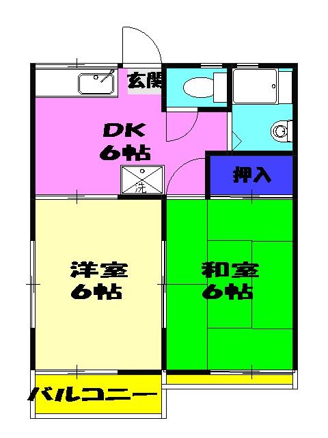 ファミーユ津田沼C棟 105号室の間取り