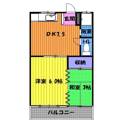 第1マンション龍 202号室の間取り