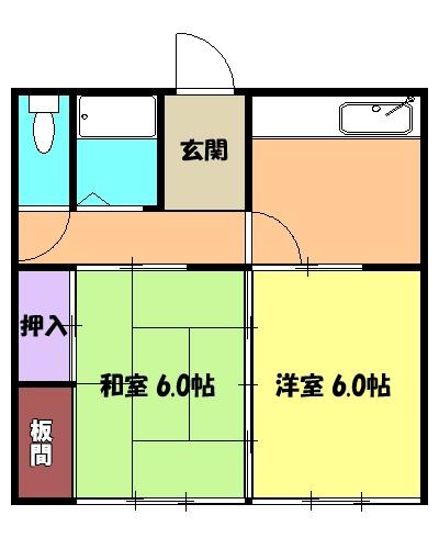 コーポ上豊田平屋・3号室の間取り