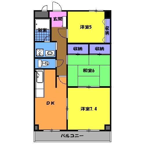 萩野マンションB棟 202号室の間取り