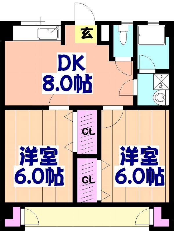 ヴィラージュ新鎌ヶ谷・B-201号室の間取り