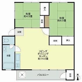 多摩川住宅ニ-15号棟 405号室の間取り