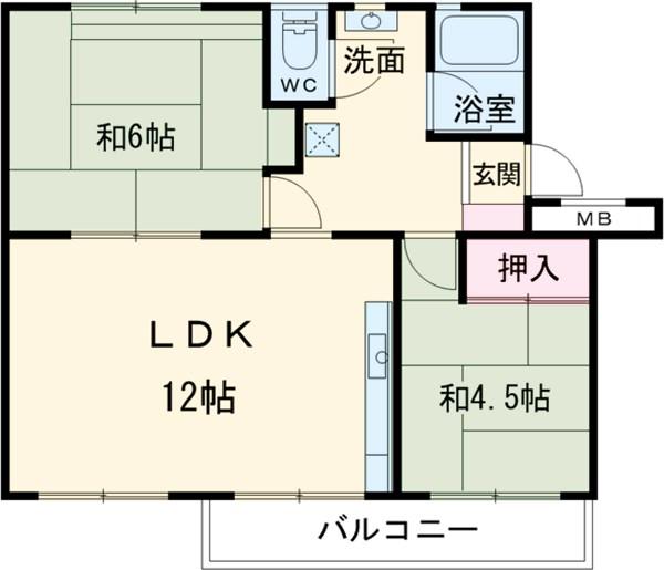 高塚団地1-2-106 106号室の間取り