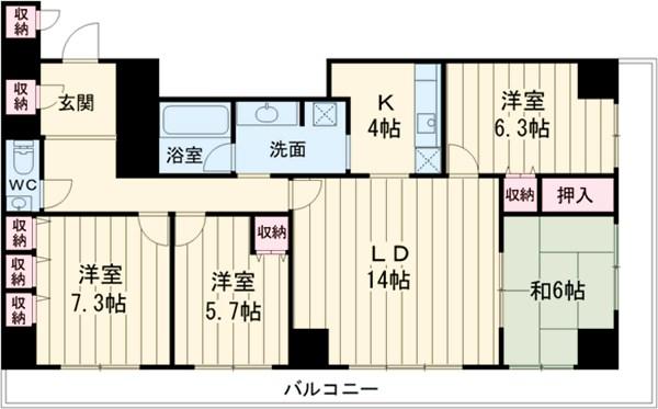 横浜ヘリオスタワー 1805号室の間取り