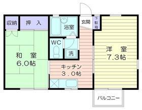 港ハウスⅠ・2A号室の間取り