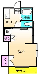 第一城田荘 102号室の間取り