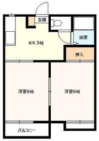 南大谷 町田駅歩22分   アパート・202号室の間取り