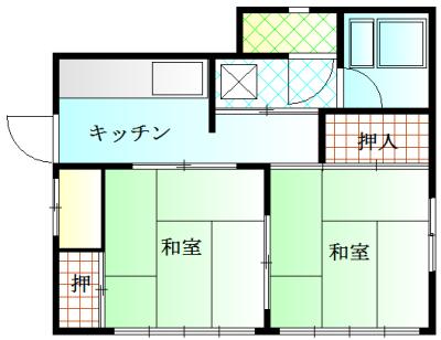 矢島アパート・201号室の間取り