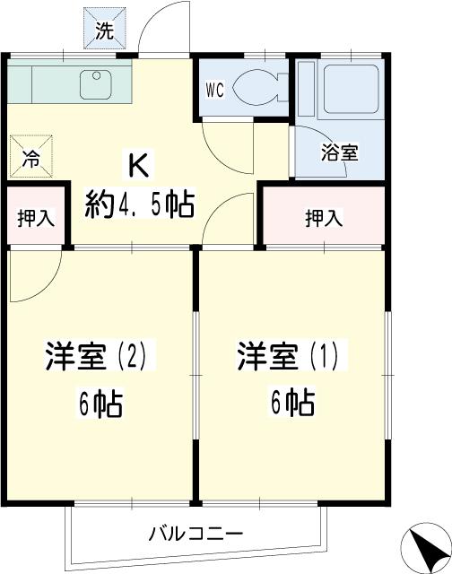 錦荘・0201号室の間取り