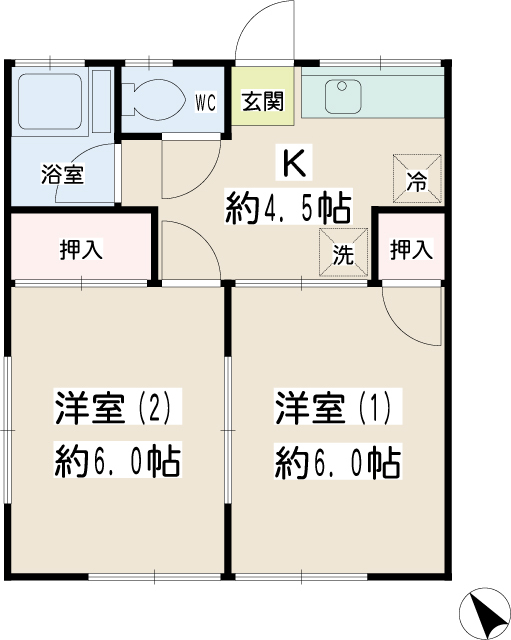 錦荘・0102号室の間取り