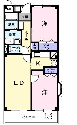 グラディオ K2・01010号室の間取り