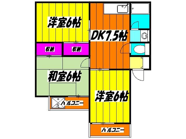 フラワーハーモニー・1-B号室の間取り
