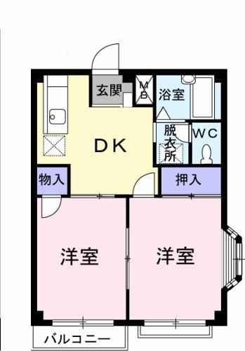 エルディム岩崎Ⅱ・02010号室の間取り