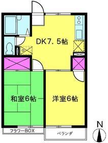 レピュート加藤・2号棟・202号室の間取り