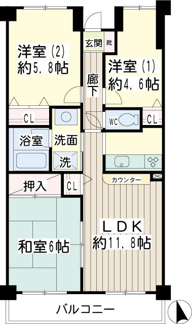 北寺尾大滝マンション・0203号室の間取り